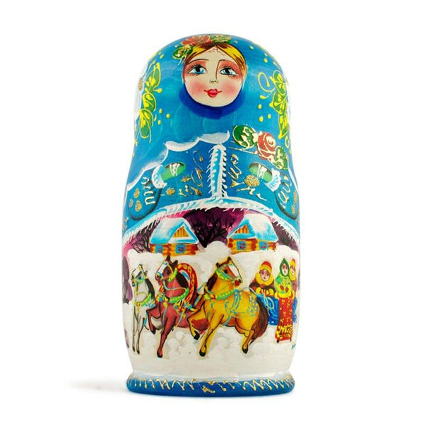 Buy Online Gift Shop Set of 5 Winter Ride Russian Wooden Matryoshka Nesting Dolls 7 Inches