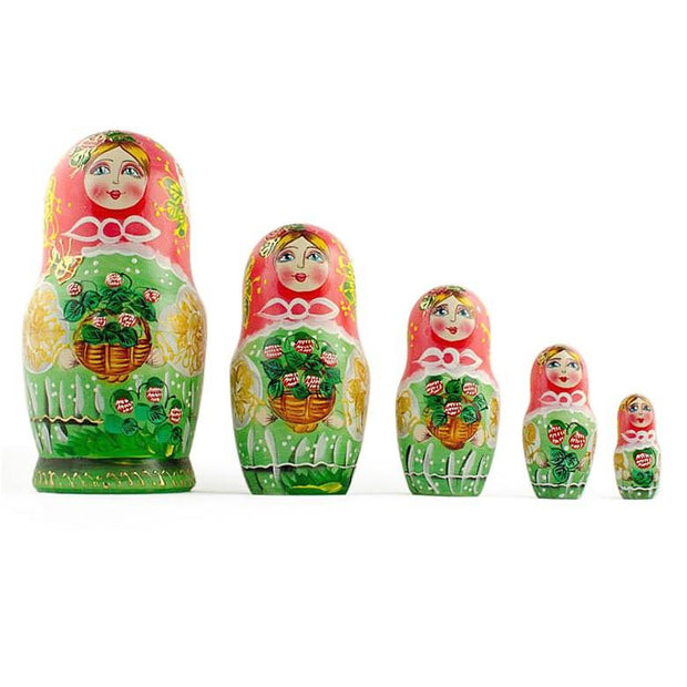 Set of 5 Flowers Basket Russian Nesting Dolls 6.5 Inches by BestPysanky