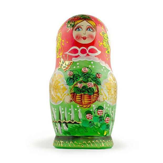 Set of 5 Flowers Basket Russian Nesting Dolls 6.5 Inches