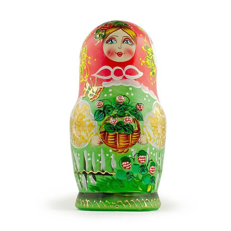 Buy Online Gift Shop Set of 5 Flowers Basket Russian Nesting Dolls 6.5 Inches