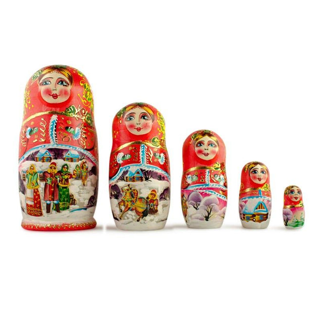 Set of 5 Winter Night Matryoshka Wooden Russian Nesting Dolls 6.5 Inches by BestPysanky