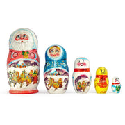 Set of 5 Santa w/ Friends Wooden Russian Nesting Dolls 6.5 Inches by BestPysanky