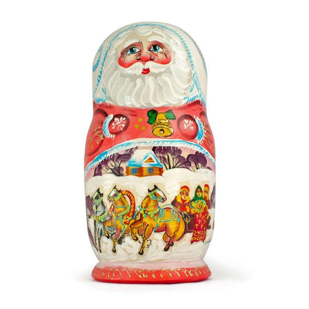 Set of 5 Santa w/ Friends Wooden Russian Nesting Dolls 6.5 Inches