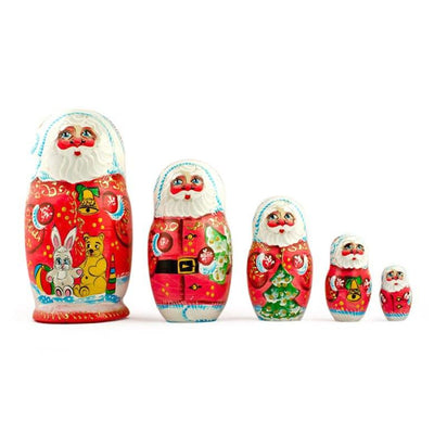 Set of 5 Santa with Teddy Bear, Bunny and Christmas Tree Wooden Russian Nesting Dolls 6 Inches by BestPysanky