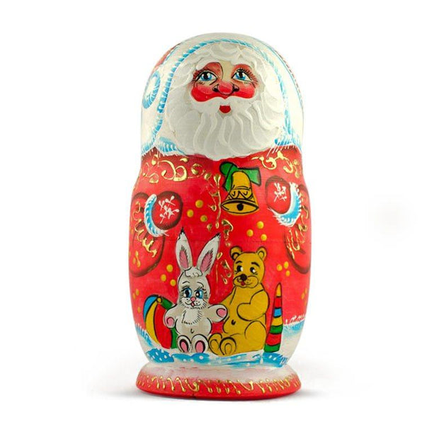 Buy Online Gift Shop Set of 5 Santa with Teddy Bear, Bunny and Christmas Tree Wooden Russian Nesting Dolls 6 Inches