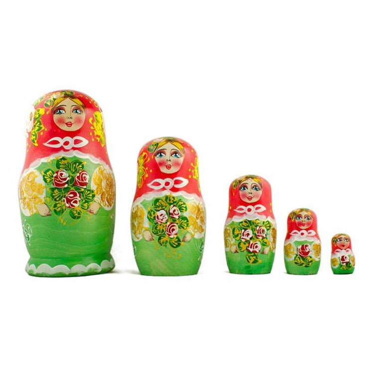 Set of 5 Olga Russian Nesting Dolls 6.5 Inches by BestPysanky