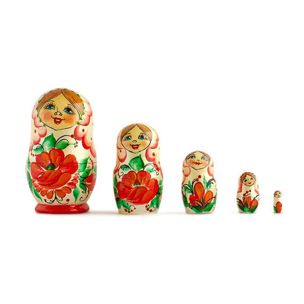 Set of 5 Red Poppy Flowers Dress Wooden Russian Nesting Dolls 3.5 Inches by BestPysanky
