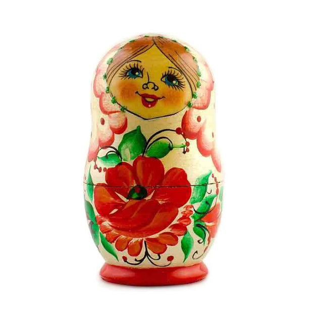 Buy Online Gift Shop Set of 5 Red Poppy Flowers Dress Wooden Russian Nesting Dolls 3.5 Inches