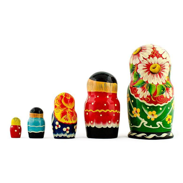 "BestPysanky Nesting Dolls > Cartoons & Fairy Tales - 7"" Set of 5 Farmers Family Russian Nesting Dolls"
