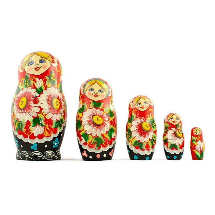 Set of 5 Chamomiles with Ladybug Russian Nesting Dolls 6.5 Inches by BestPysanky