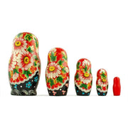 "6.5"" Set of 5 Chamomiles with Ladybug Russian Nesting Dolls 