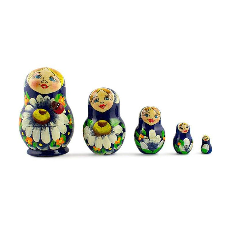 Set of 5 Karina Russian Nesting Dolls 3.5 Inches by BestPysanky