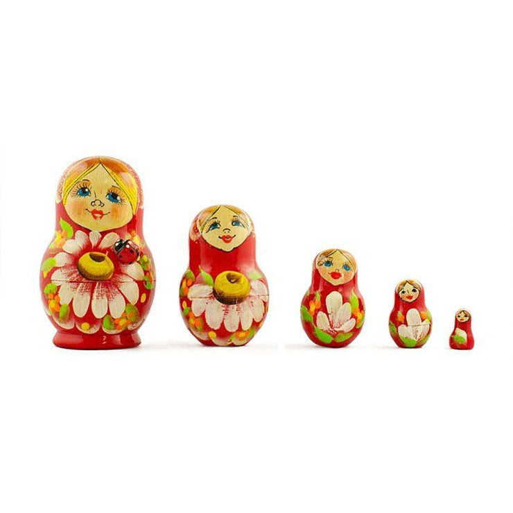 Set of 5 Daisy Flowers on Red Dress Russian Nesting Dolls 3.5 Inches by BestPysanky
