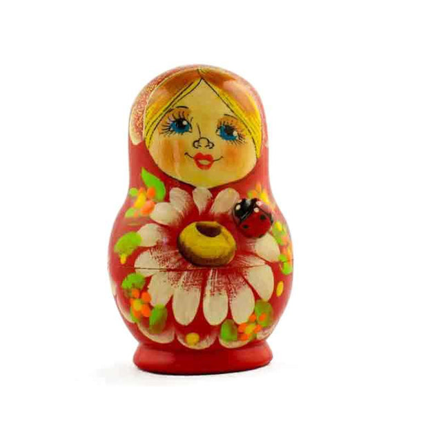 "BestPysanky Nesting Dolls > Floral - 3.5"" Set of 5 Daisy Flowers on Red Dress Russian Nesting Dolls"