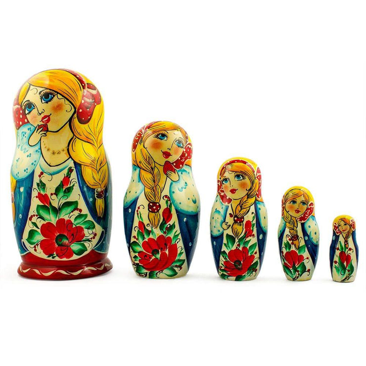 Set of 5 Golden Long Hair Girl  Wooden Nesting Dolls 7 Inches by BestPysanky