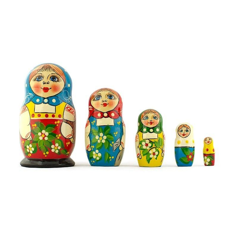 Set of 5 Peasant Girls Wooden Russian Nesting Dolls 5.5 Inches by BestPysanky