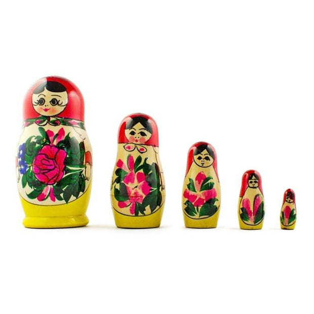 Set of 5 Semyonov Traditional Matryoshka Russian Nesting Dolls 4.5 Inches by BestPysanky