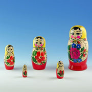 Set of 5 Semyonov Traditional Matryoshka Russian Nesting Dolls 4.5 Inches