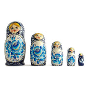 Set of 5 Gzhel Style Russian Nesting Dolls Matryoshka 7 Inches by BestPysanky