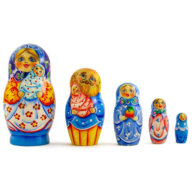 Set of 5 Newborn Baby Wooden Nesting Dolls Matryoshka 6.5 Inches by BestPysanky