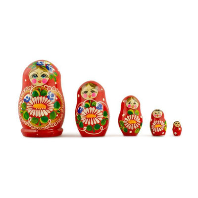 Set of 5 Red Dress with Flowers Wooden Russian Matryoshka Dolls 3.5 Inches by BestPysanky