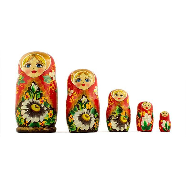 5 Girl with Daisy Flowers Wooden Russian Nesting Dolls Matryoshka 5 Inches by BestPysanky