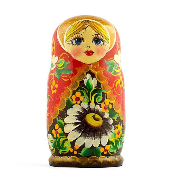 5 Girl with Daisy Flowers Wooden Russian Nesting Dolls Matryoshka 5 Inches