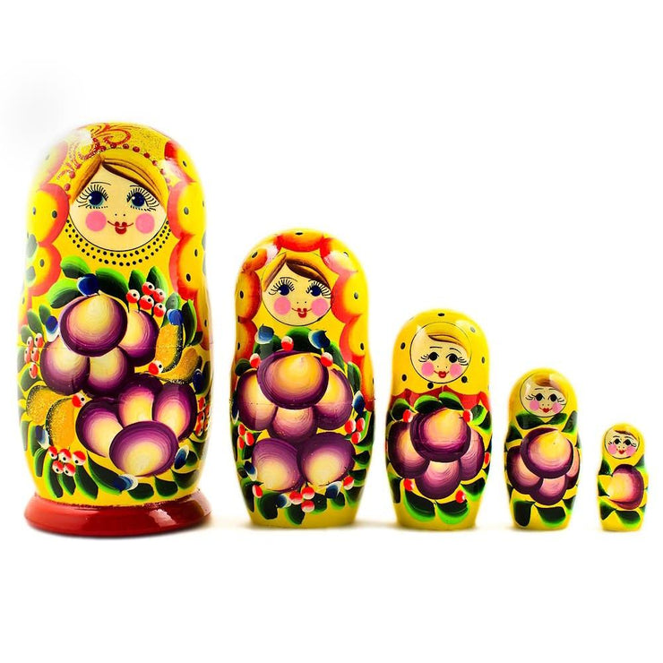 Set of 5 Darya Russian Nesting Dolls 7 Inches by BestPysanky