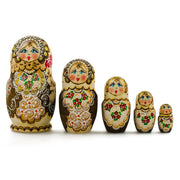 Set of 5 Pyrography  Wooden Russian Nesting Dolls Matryoshka 6 Inches by BestPysanky