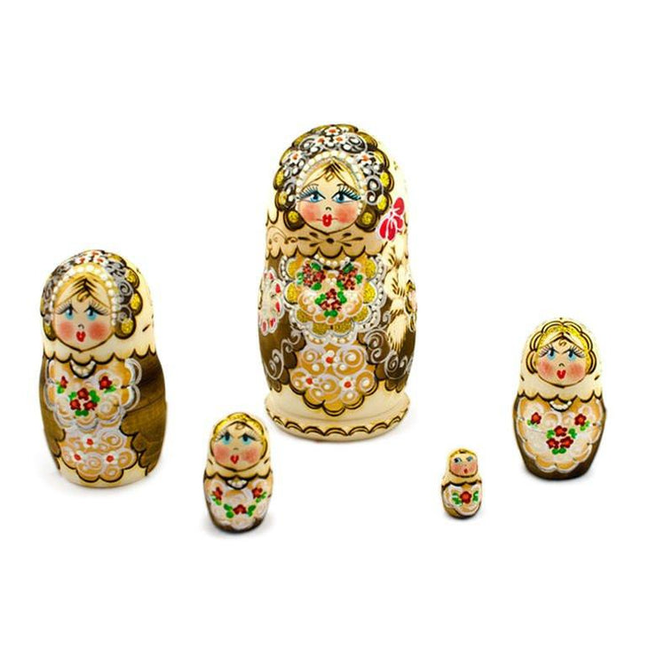 Buy Online Gift Shop Set of 5 Pyrography  Wooden Russian Nesting Dolls Matryoshka 6 Inches