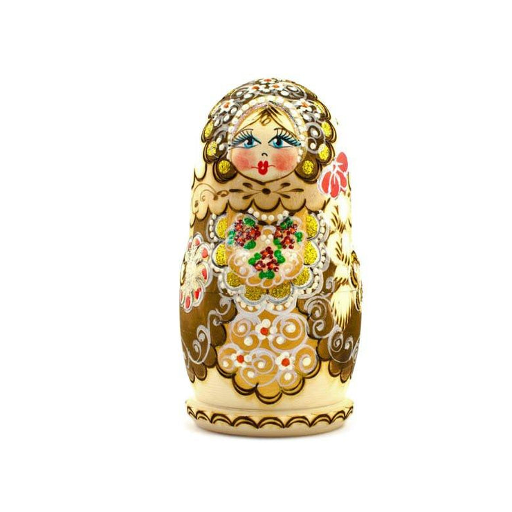 Set of 5 Pyrography  Wooden Russian Nesting Dolls Matryoshka 6 Inches