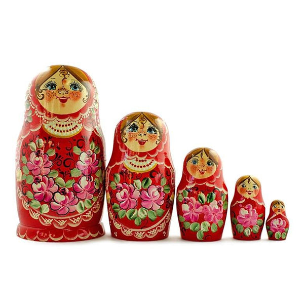 BestPysanky Nesting Dolls > Floral - 7'' Set of Girls in Red Dress Wooden Russian Nesting Dolls