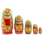 5 Girl with Green Scarf and Red Dress Wooden Russian Nesting Dolls 7 Inches by BestPysanky