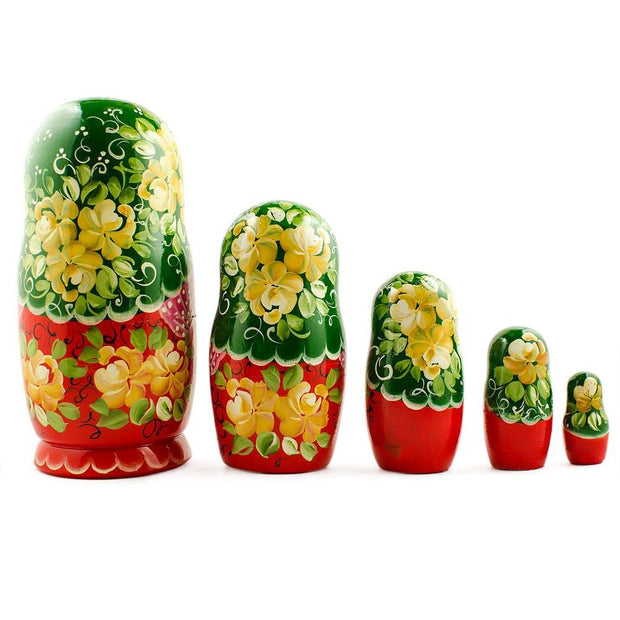 BestPysanky Nesting Dolls > Floral - 7'' Set of 5 Girl with Green Scarf and Red Dress Wooden Russian Nesting Dolls