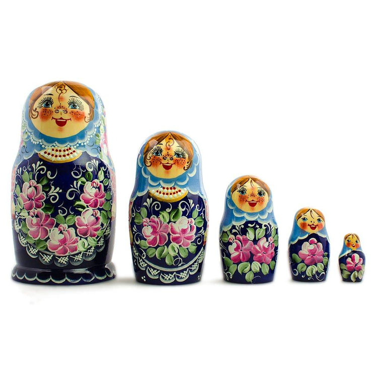 Set of 5 Blue Floral Dress Girls Russian Wooden Nesting Dolls 7 Inches by BestPysanky
