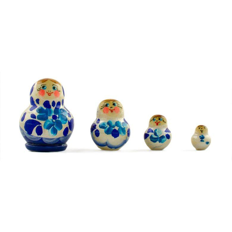 Set of 4 Blue and White Dress Miniature Wooden Russian Nesting Dolls 1.75 Inches by BestPysanky