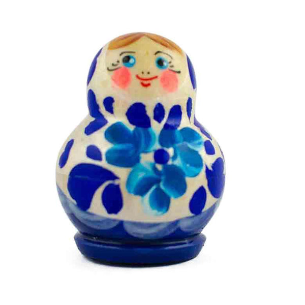 "1.75"" Set of 4 Blue and White Dress Miniature Wooden Russian Nesting Dolls 