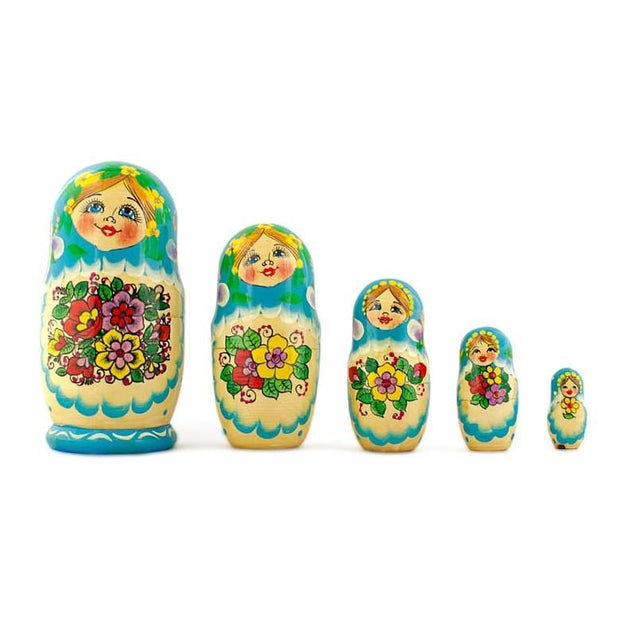 "BestPysanky Nesting Dolls > Floral - 5.5"" Set of 5 Garden Bouquet Dress Russian Nesting Dolls"
