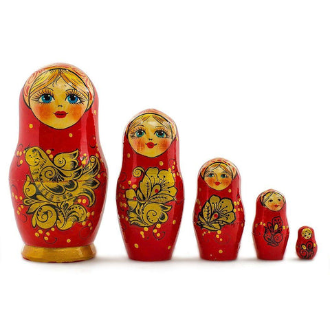 5'' Set of 5 Golden Birds Wooden Russian Nesting Dolls Matryoshka | BestPysanky