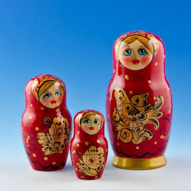 BestPysanky Nesting Dolls > Christmas - 5'' Set of 5 Golden Birds Wooden Russian Nesting Dolls Matryoshka