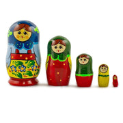 Set of 5 Babushka in Blue Scarf Russian Nesting Dolls 4 Inches by BestPysanky