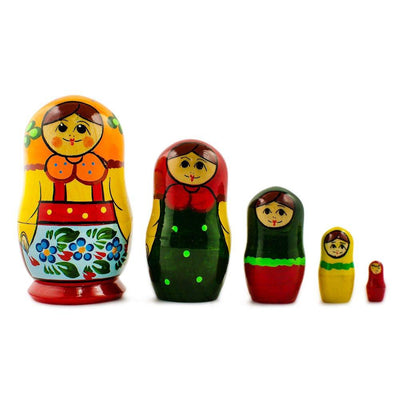 Set of 5 Babushka in Orange Scarf Russian Nesting Dolls 4 Inches by BestPysanky