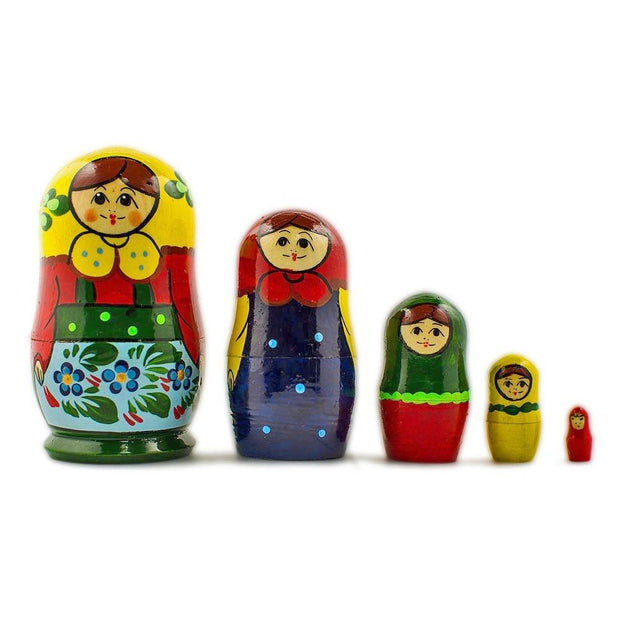 Set of 5 Babushka in Yellow Scarf Russian Nesting Dolls 4 Inches by BestPysanky