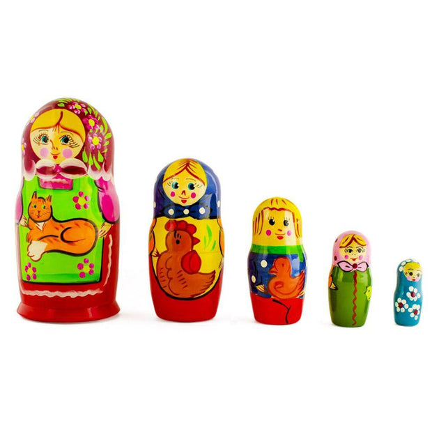 Set of 5 Girls with Cat, Rooster and Duck Animals Russian Nesting Dolls 6 Inches by BestPysanky