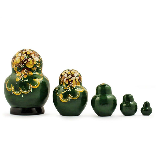 BestPysanky Nesting Dolls > Floral - 5'' Set of 5 Golden Flowers on Green Dress Russian Nesting Dolls