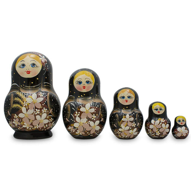 Set of 5 White Flowers on Black Dress Russian Nesting Dolls Matryoshka 5 Inches by BestPysanky