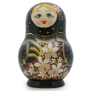 BestPysanky Nesting Dolls > Floral - 5'' Set of 5 White Flowers on Black Dress Russian Nesting Dolls Matryoshka