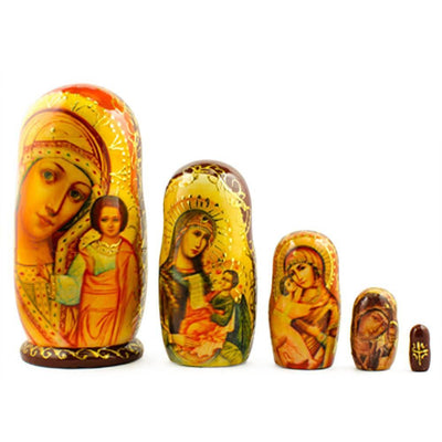 Set of 5 Virgin Mary with Jesus Icon Wooden Russian Nesting Dolls 5 Inches by BestPysanky