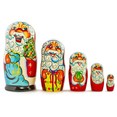 Set of 5 Cheerful Santa Claus Wooden Russian Nesting Dolls 7 Inches by BestPysanky