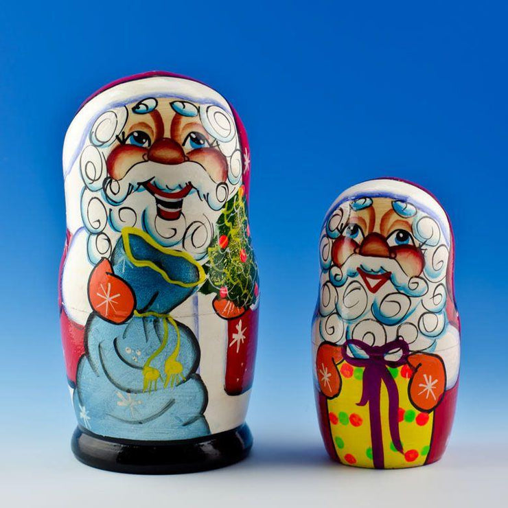 Buy Online Gift Shop Set of 5 Cheerful Santa Claus Wooden Russian Nesting Dolls 7 Inches